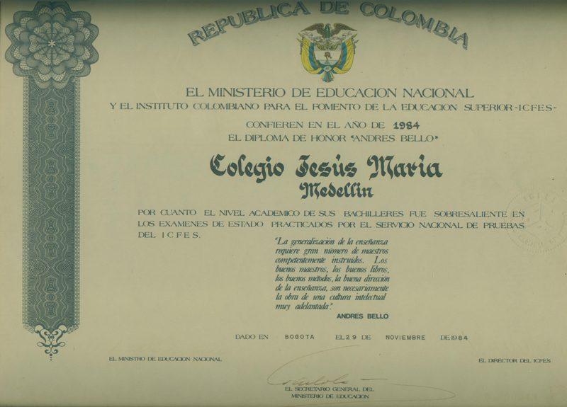 """Diploma de Honor """"Andrés Bello"""""""